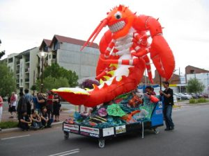 'Mon' the giant inflatable lobster float